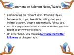 comment on relevant news tweets