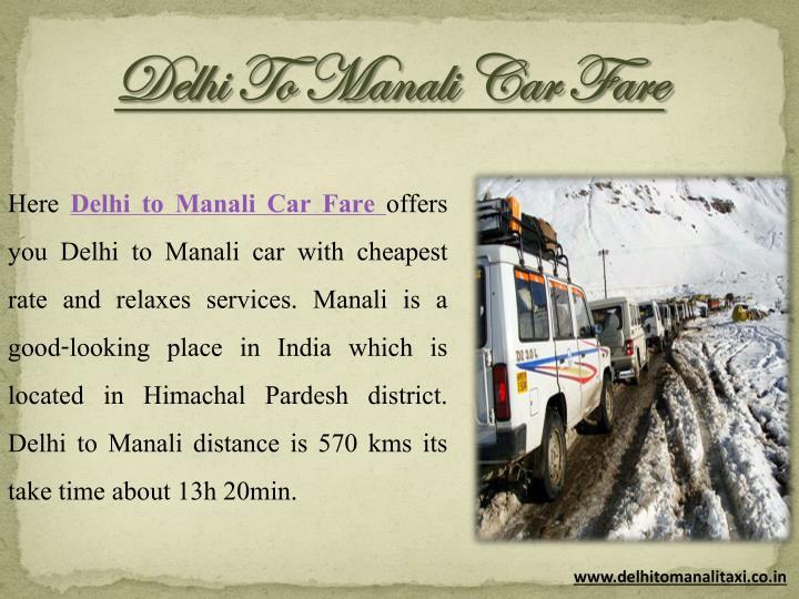 Delhi To Manali Car Fare