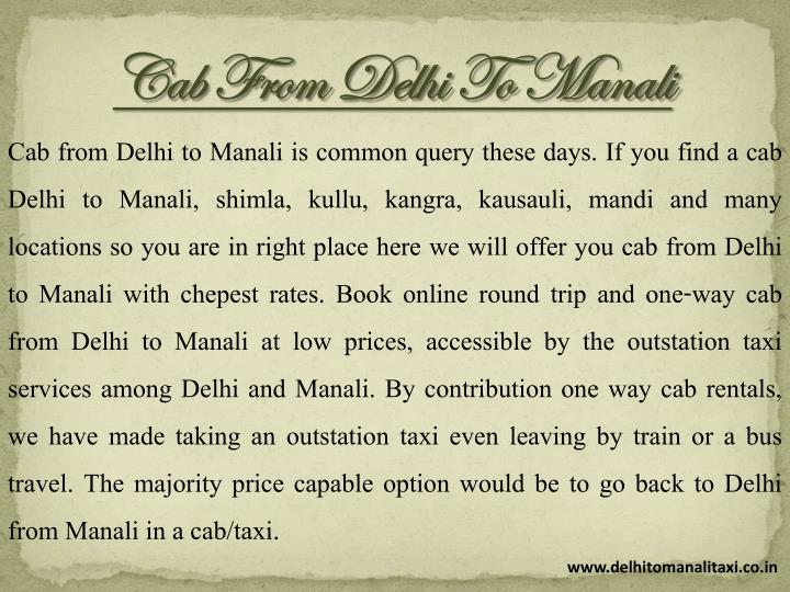 Cab From Delhi To Manali