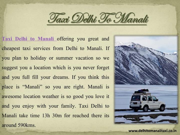 Taxi Delhi To Manali