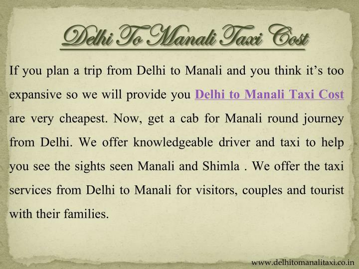 Delhi To Manali Taxi Cost