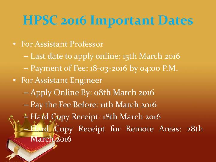 HPSC 2016 Important Dates