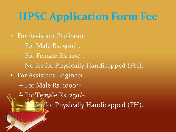 HPSC Application Form Fee