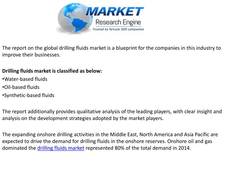 global drilling fluids market 2014 to Wbfs (water based fluids) lead the drilling fluids market and globally accounted for more than 565% of the total market in 2012 wbfs are considered to have the least toxicity among drilling fluids and find extensive use in offshore oil and gas drilling.