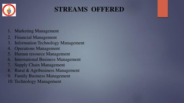 STREAMS  OFFERED