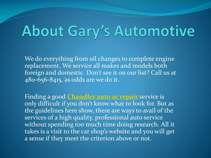 About gary s automotive