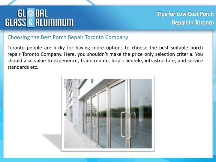 Choosing the Best Porch Repair Toronto Company