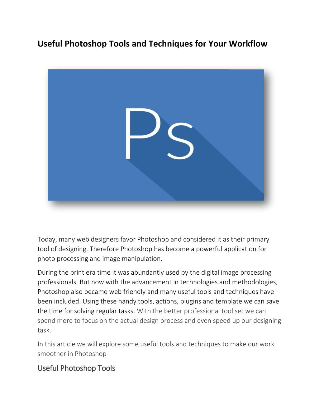 Ppt Useful Photoshop Tools And Techniques For Your Workflow Powerpoint Presentation Id 7304288