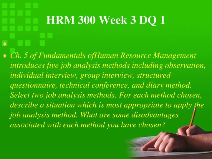 HRM 300 Week 3 DQ 1