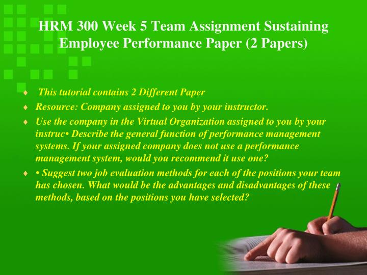 HRM 300 Week 5 Team Assignment Sustaining Employee Performance Paper (2 Papers)