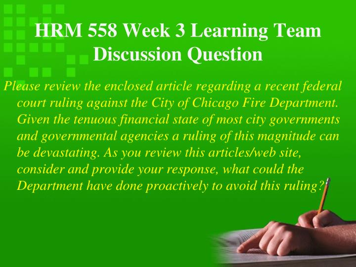 hrm 558 week 6 hr team Hrm 558 week four group paper market analysis hrm 558 research in human resource management week 5 hr statistical in human resource management week 6 hr team.