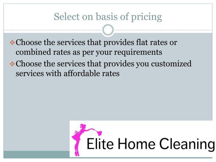 Select on basis of pricing