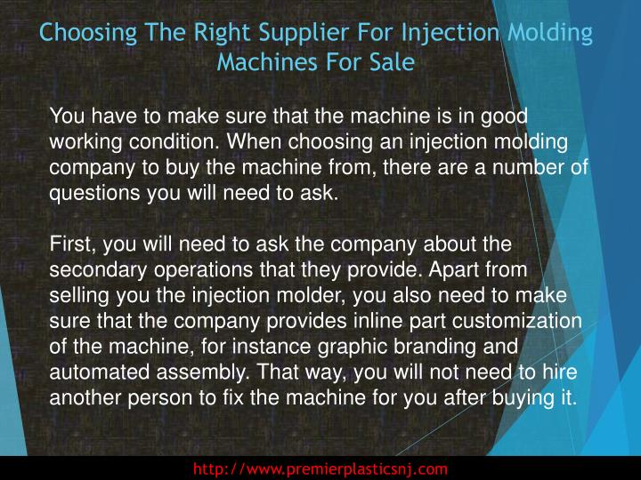 Choosing the right supplier for injection molding machines for sale2
