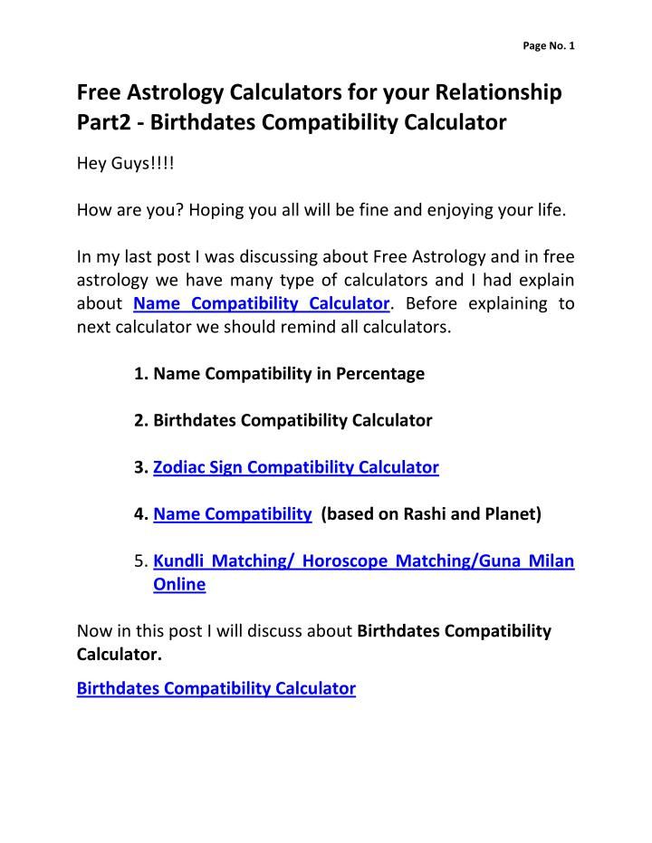 Online compatibility calculator