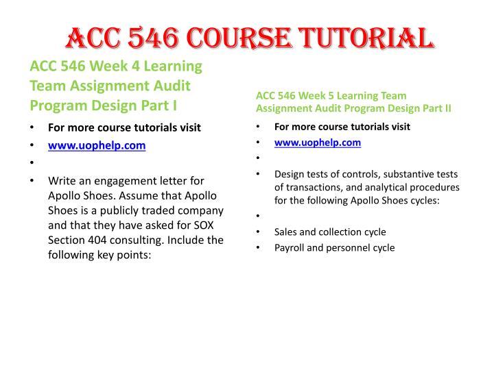 ACC 546 Course Tutorial