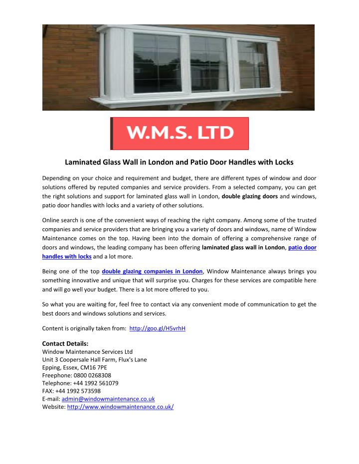 Laminated Glass Wall in London and Patio Door Handles with Locks