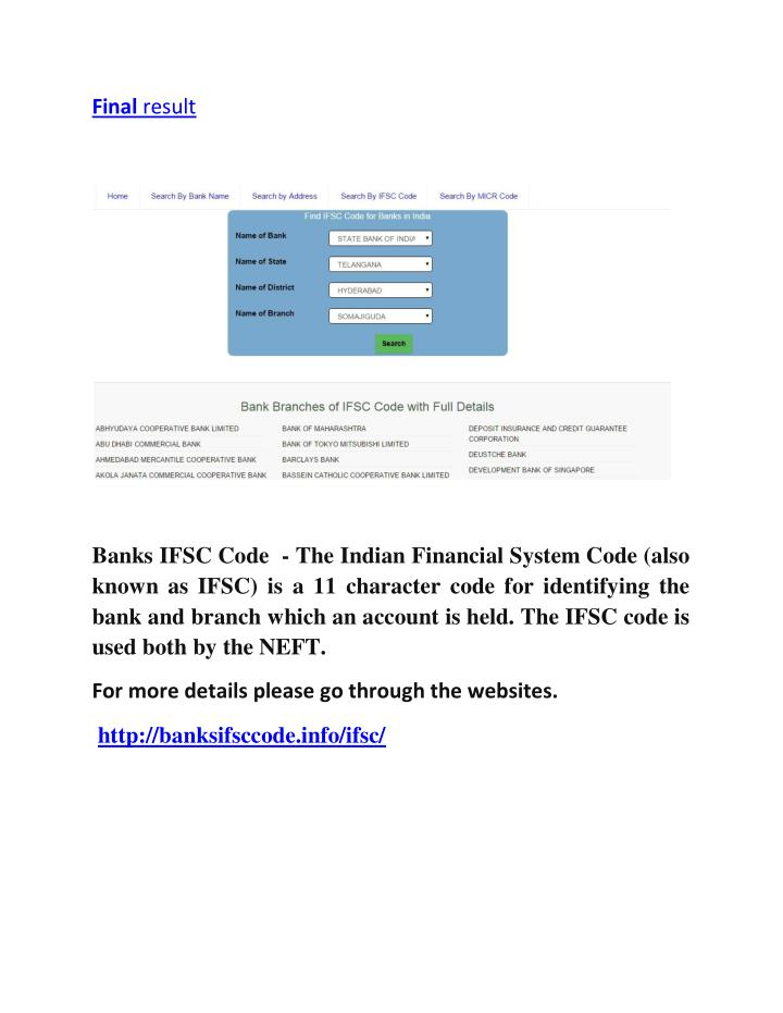 STATE BANK OF INDIA IFSC Code Search - tutorialspoint.com