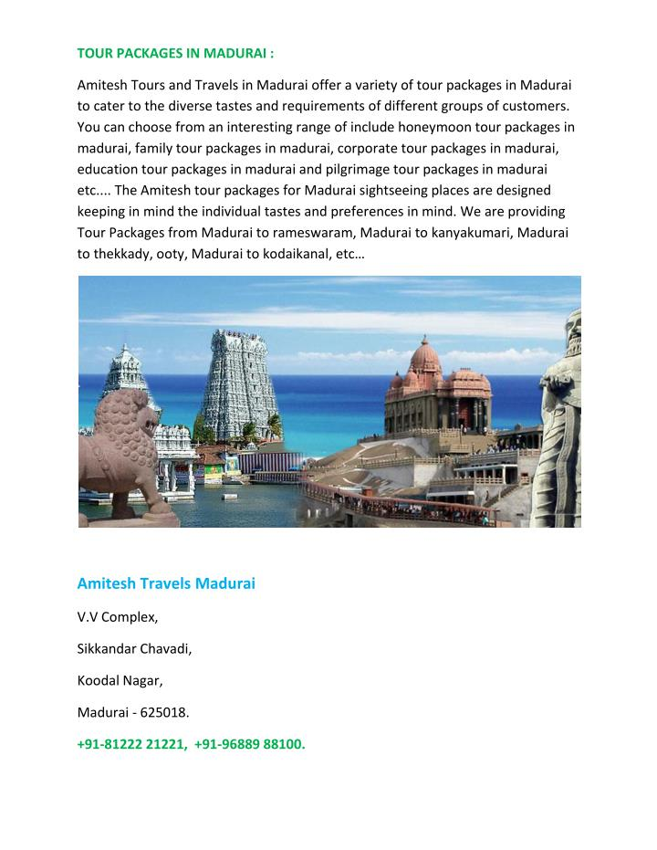 TOUR PACKAGES IN MADURAI :