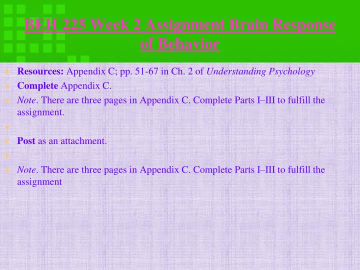 BEH 225 Week 2 Assignment Brain Response of