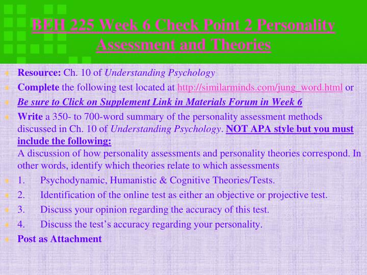 BEH 225 Week 6 Check Point 2 Personality Assessment and
