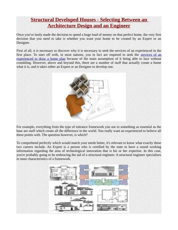 Structural Developed Houses - Selecting Between an