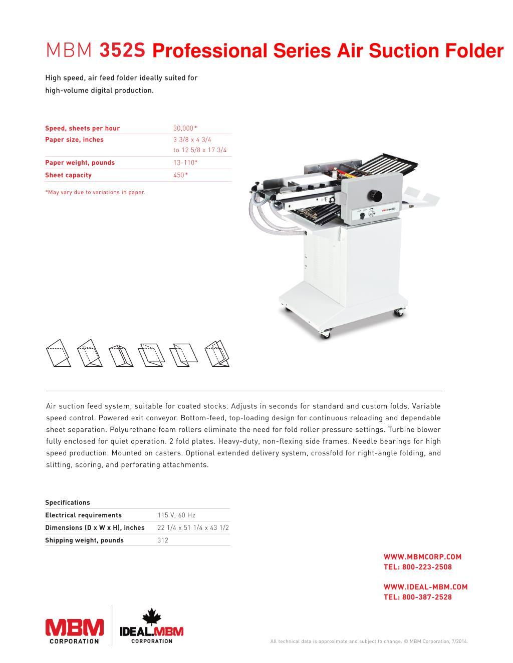 PPT - MBM 352S Professional Series Air Suction Folder - Printfinish
