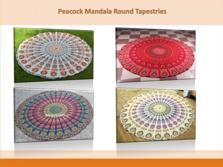 Peacock Mandala Round Tapestries