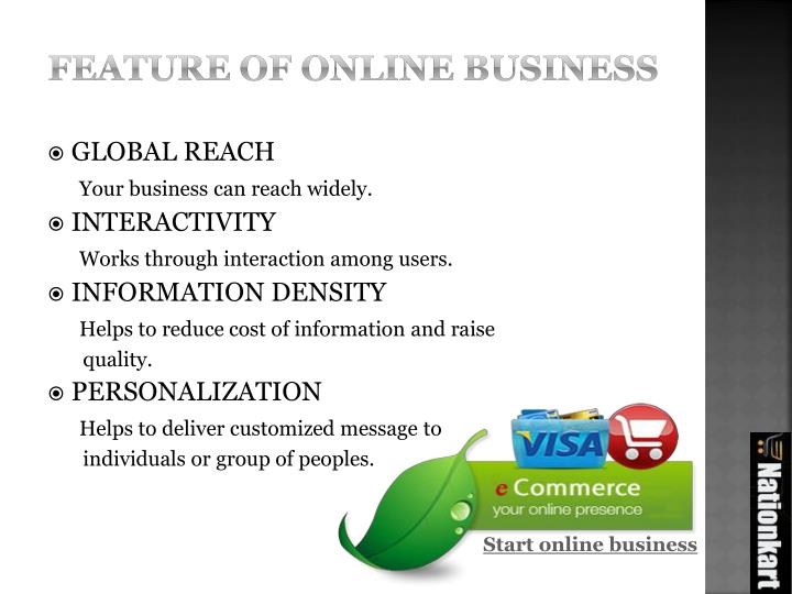 Feature of online business