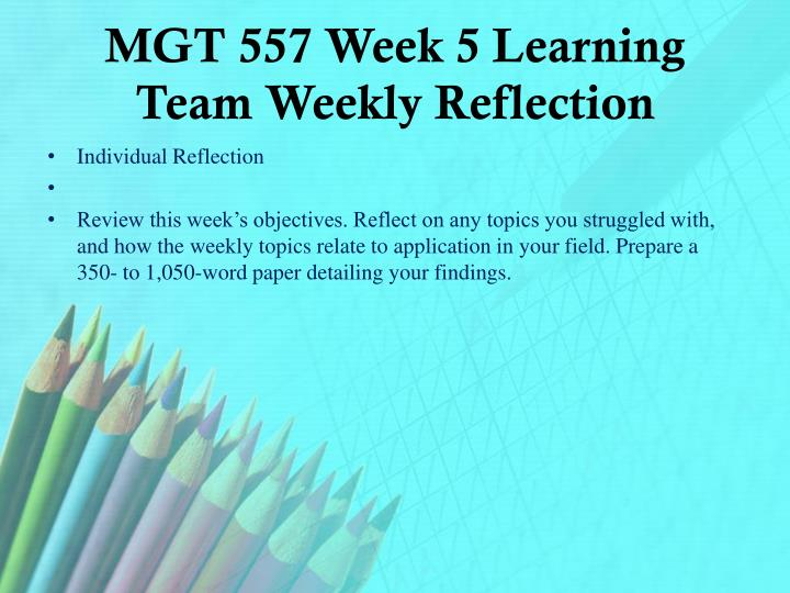 Mgt 350 week 1 individual assignment