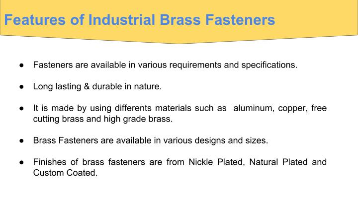 Features of Industrial Brass Fasteners