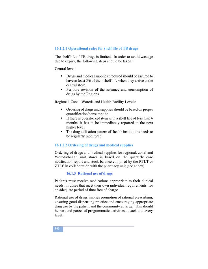 16.1.2.1 Operational rules for shelf life of TB drugs