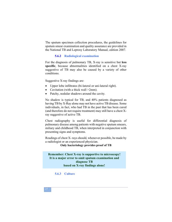 The sputum specimen collection procedures, the guidelines for