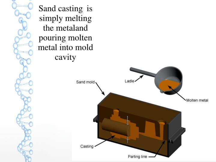 Sand casting is simply melting the metaland pouring molten metal into mold cavity