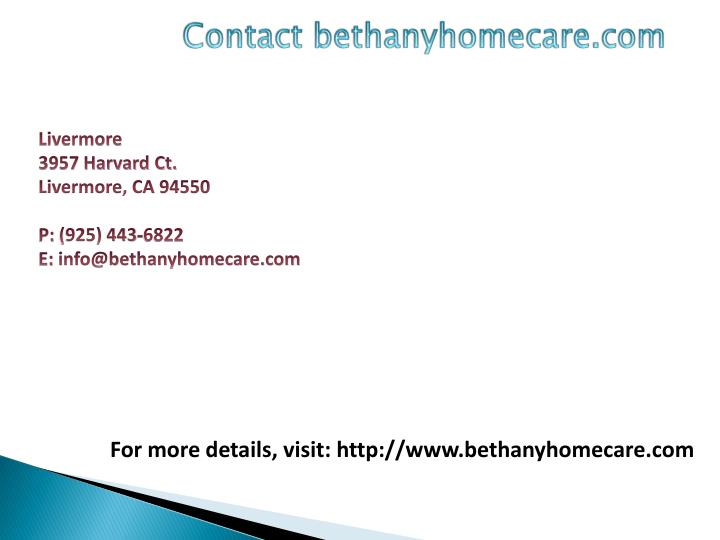 Contact bethanyhomecare.com