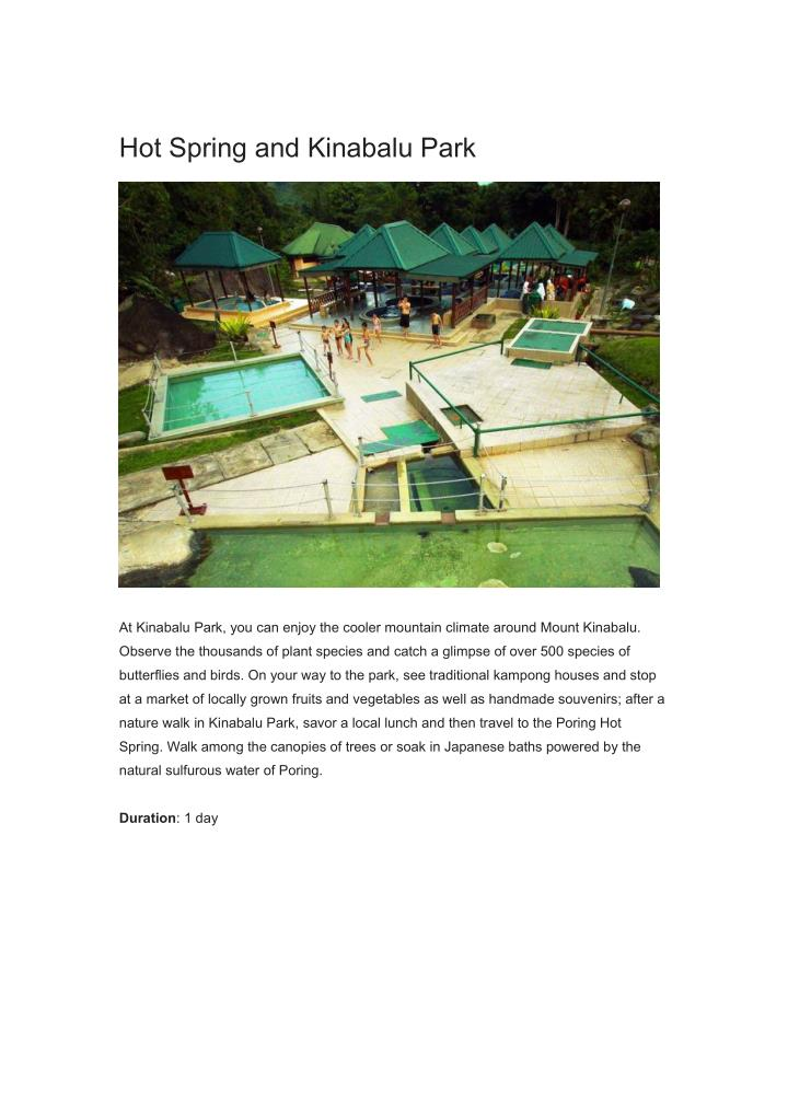 Hot Spring and Kinabalu Park