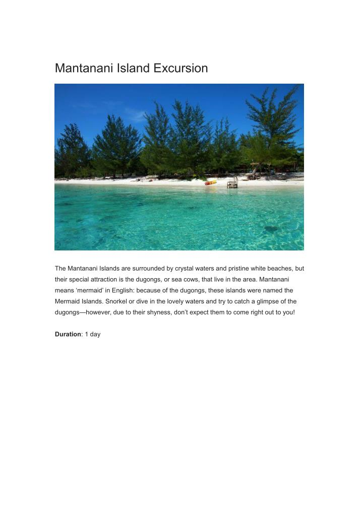 Mantanani Island Excursion