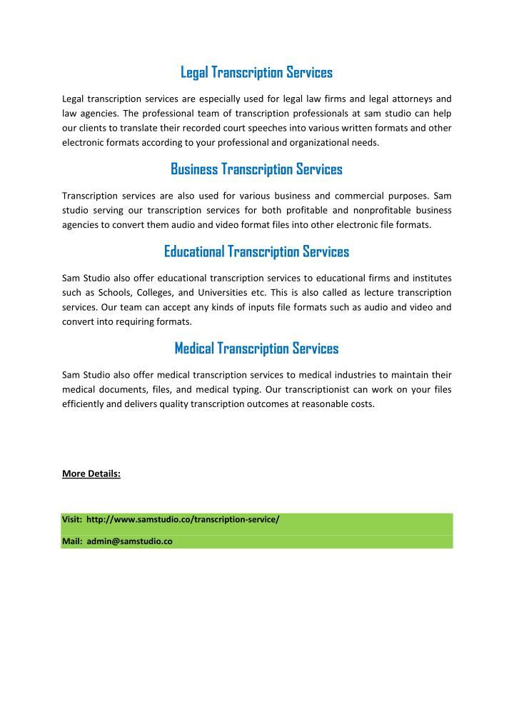 Legal Transcription Services