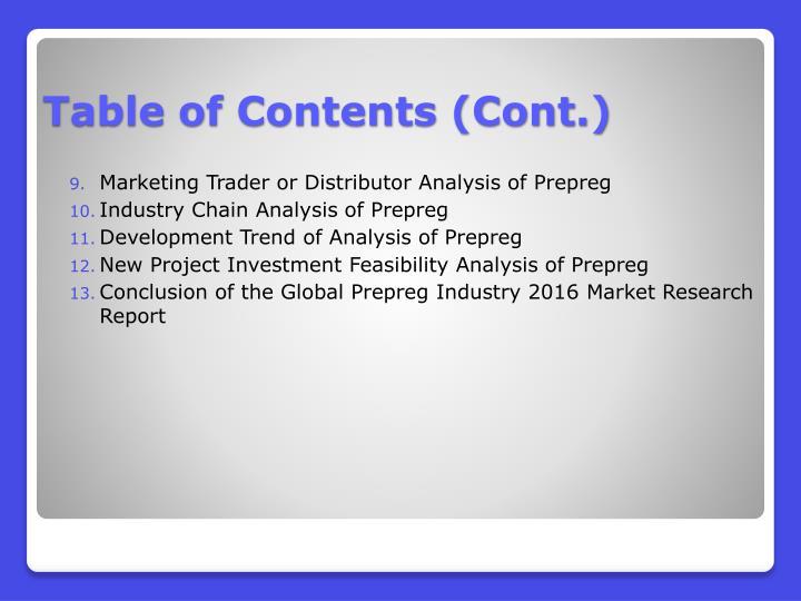 Marketing Trader or Distributor Analysis of Prepreg