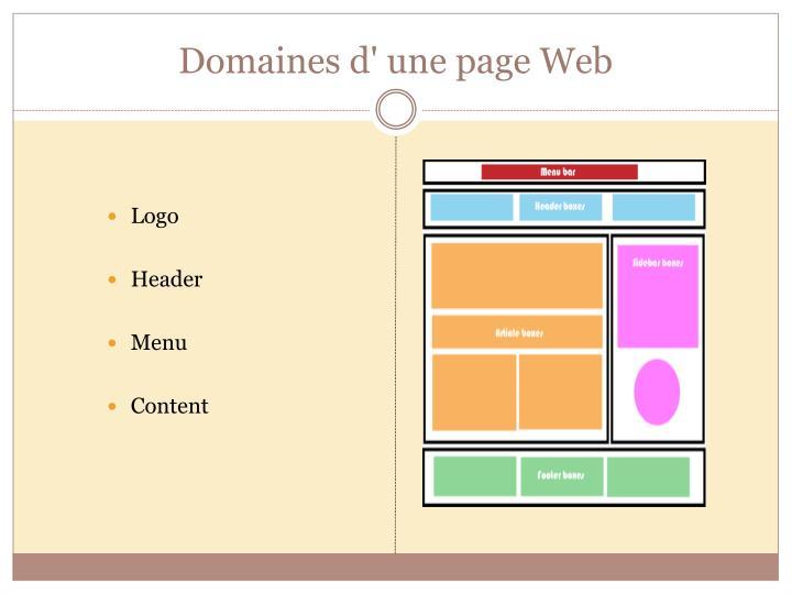Domaines d' une page Web