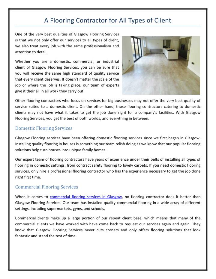 Ppt A Flooring Contractor For All Types Of Client Powerpoint