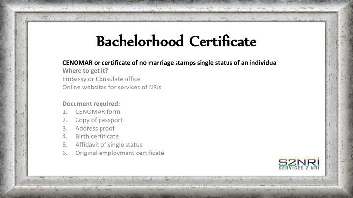 Bachelorhood Certificate