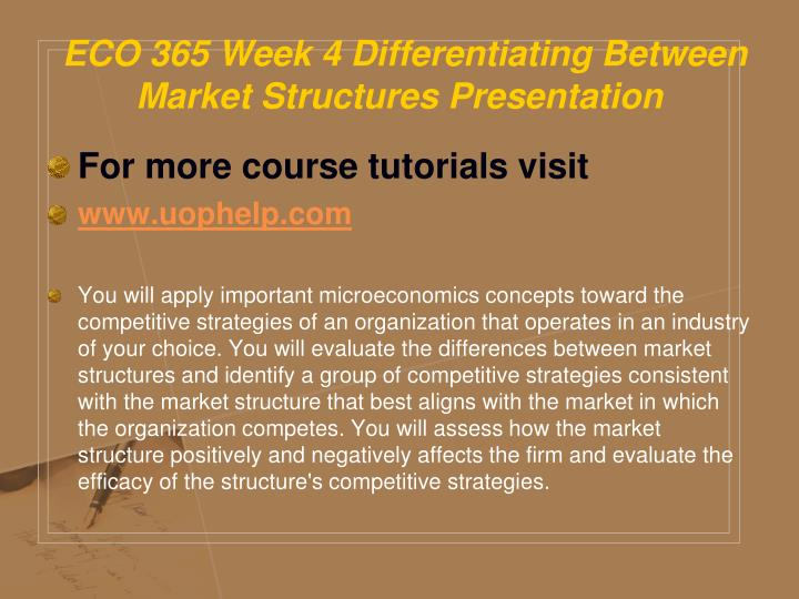 differentiating between market structures simulation