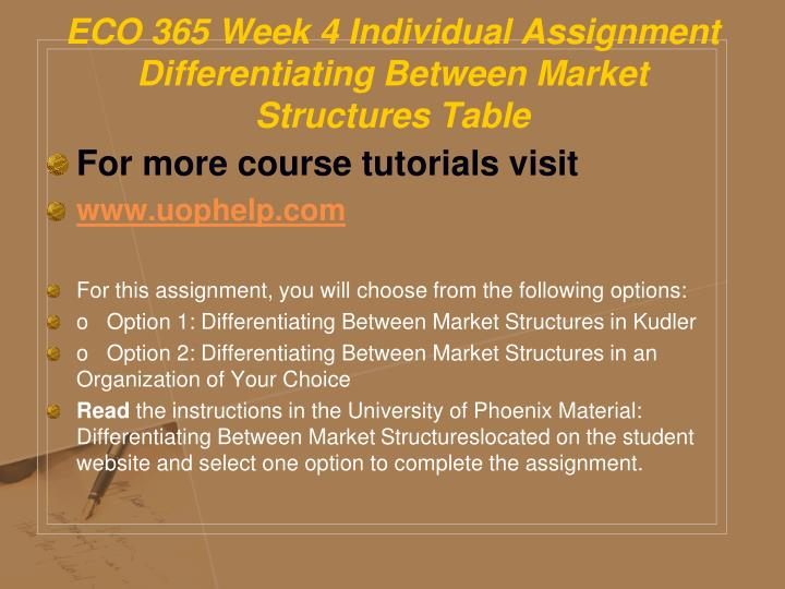 eco 365 week 4 For more course tutorials visit wwwuophelpcom eco 365 week 4 the economics of labor markets select an organization your team is familiar with or an organization where a team member works.