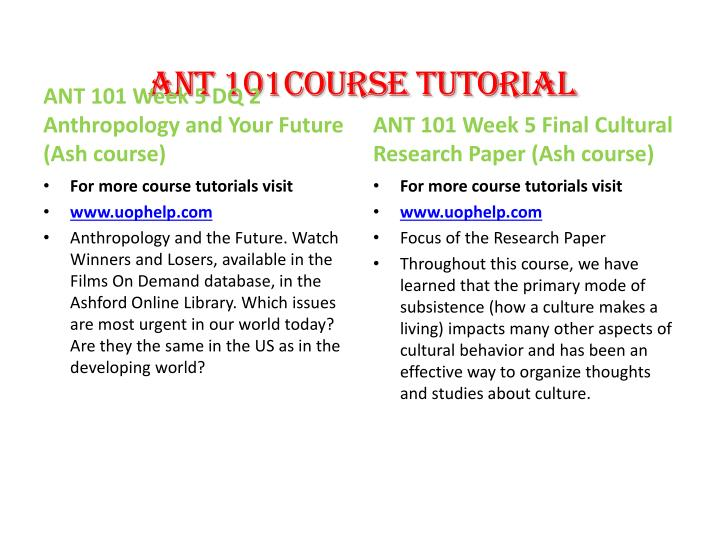 ANT 101Course Tutorial