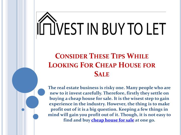 Ppt consider these tips while looking for cheap house for Cheap home building techniques