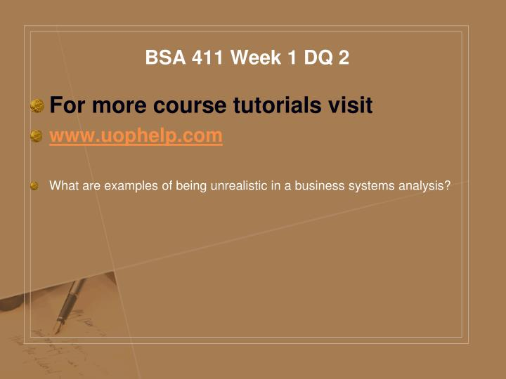 Bsa 411 week 1 dq 2