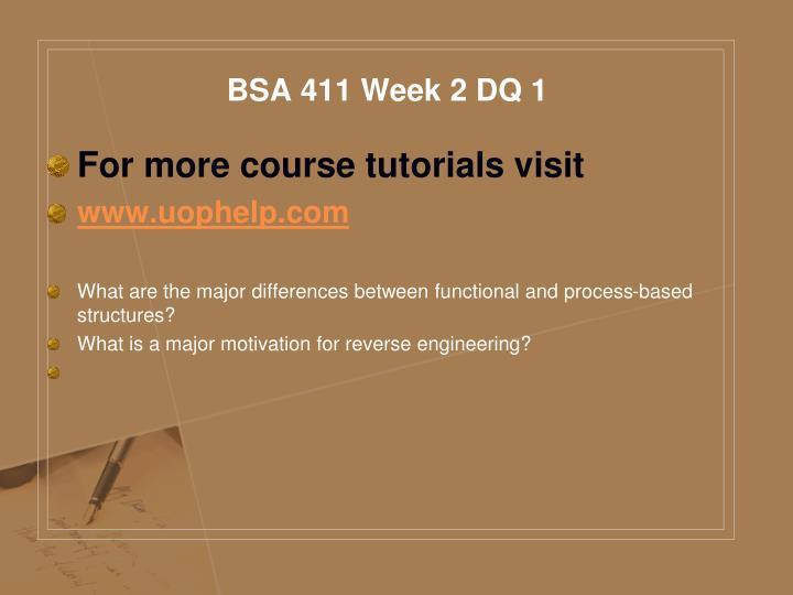 BSA 411 Week 2 DQ 1
