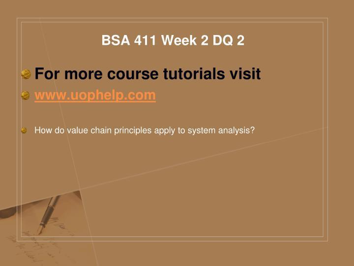BSA 411 Week 2 DQ 2