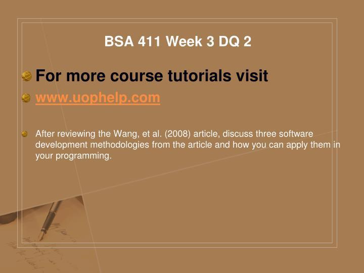 BSA 411 Week 3 DQ 2