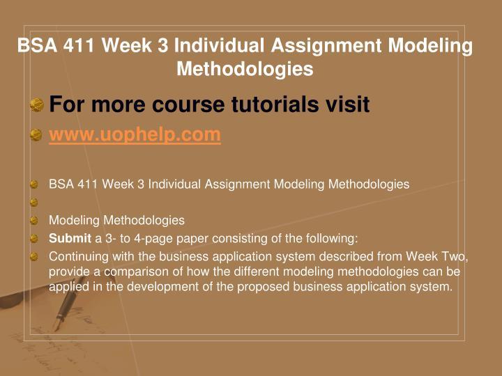 BSA 411 Week 3 Individual Assignment Modeling Methodologies
